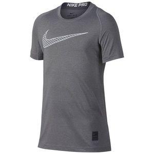 Nike Dri-Fit Pro Logo-Print T-Shirt Grey Boys' XL